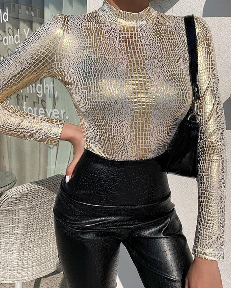 Mock Neck Snakeskin Sequin Top