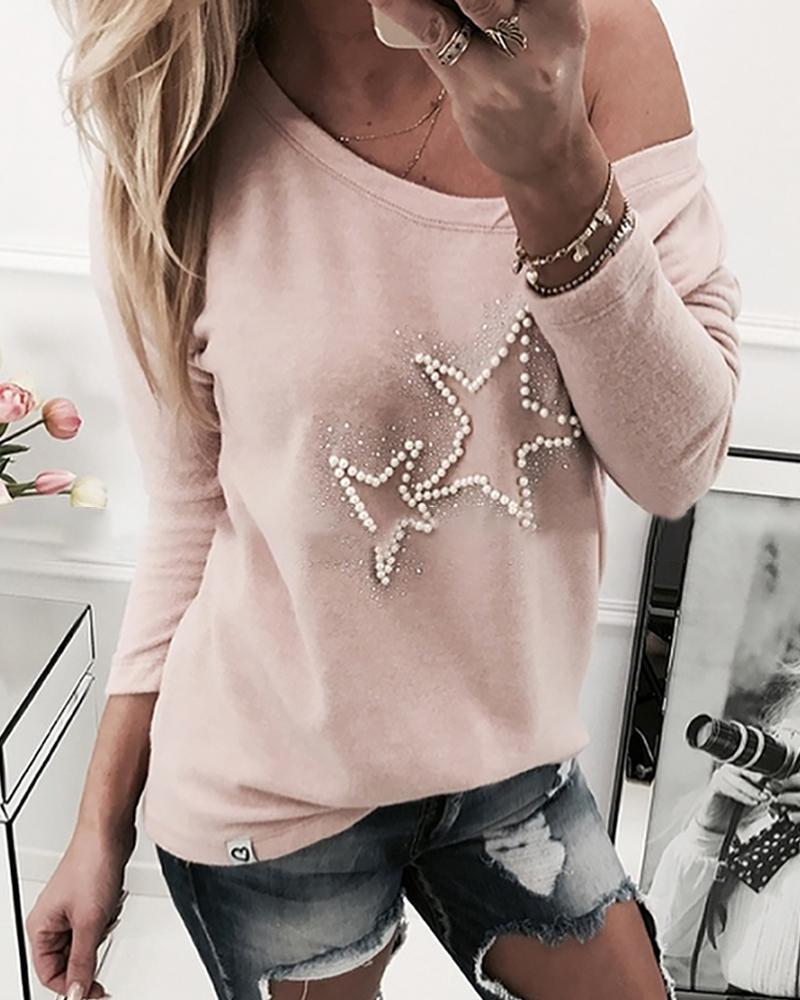 Outlet26 Star Beaded Design Casual Sweatshirt pink