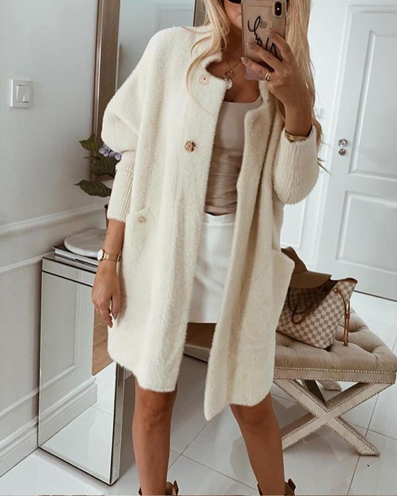 Outlet26 White Fluffy Long Sleeve Coat beige