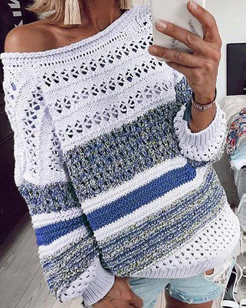 Striped Long Sleeve Pointelle Sweater