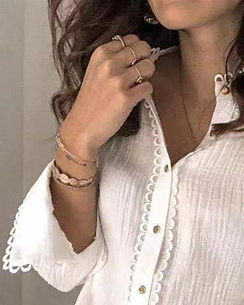 Solid Lace Hem Long Sleeve Shirt