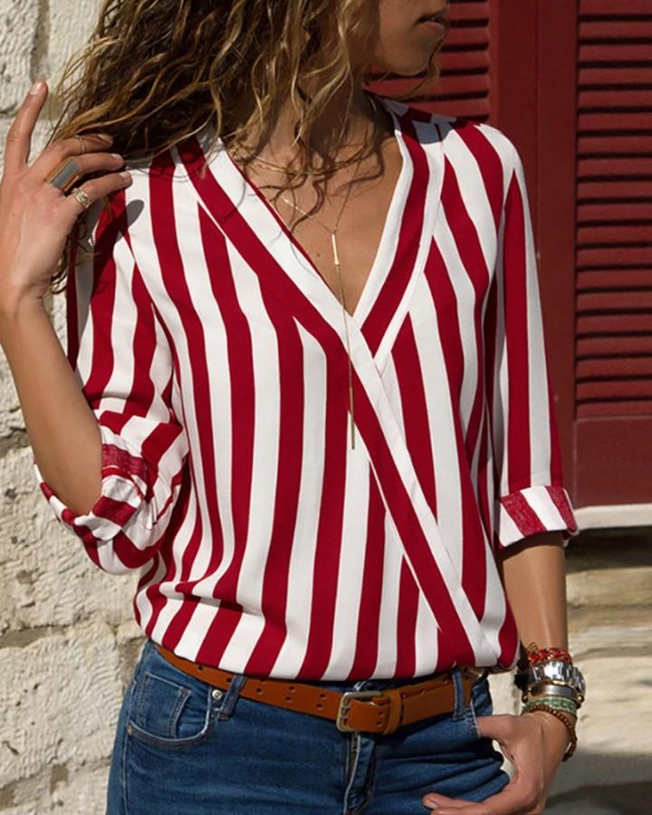 Long Sleeve V Neck Striped Blouse