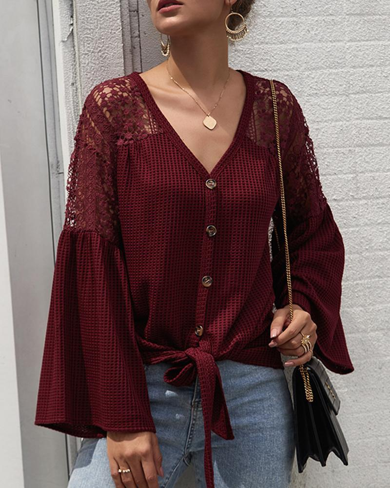 Outlet26 V Neck Button-Up Lace Cardigan Wine red