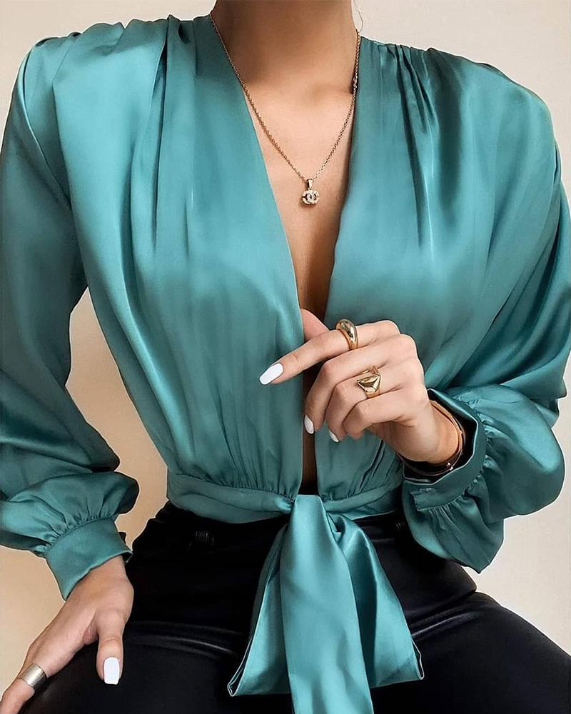 Outlet26 Deep V Tie Waist Satin Top green