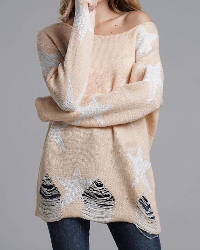 Star Off Shoulder Frayed Down Pullover Knit Sweater