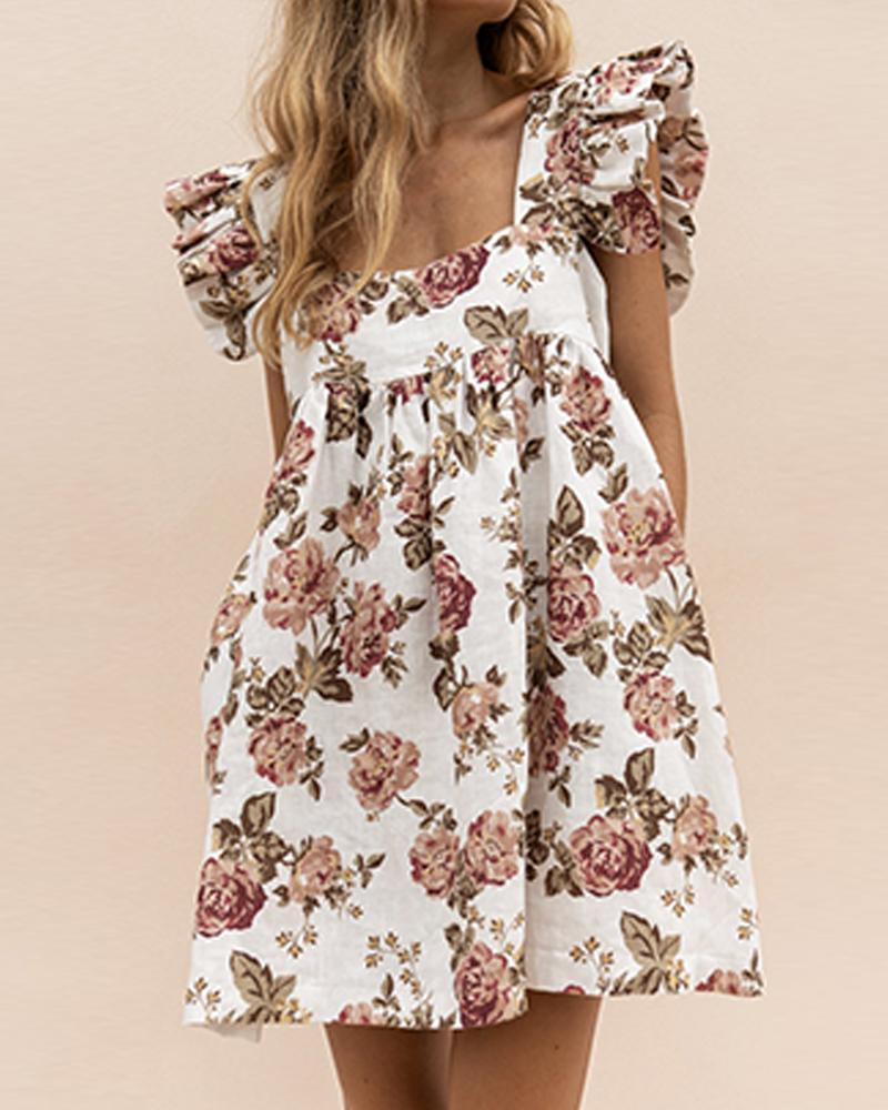 Outlet26 Floral Square Neck Ruffle Sleeve Dress white