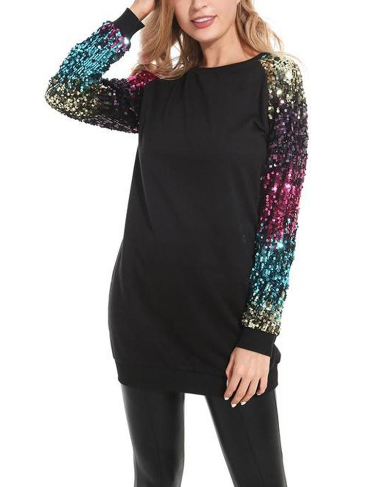 Outlet26 Round Neck Sequin Sleeve Sweatshirt black
