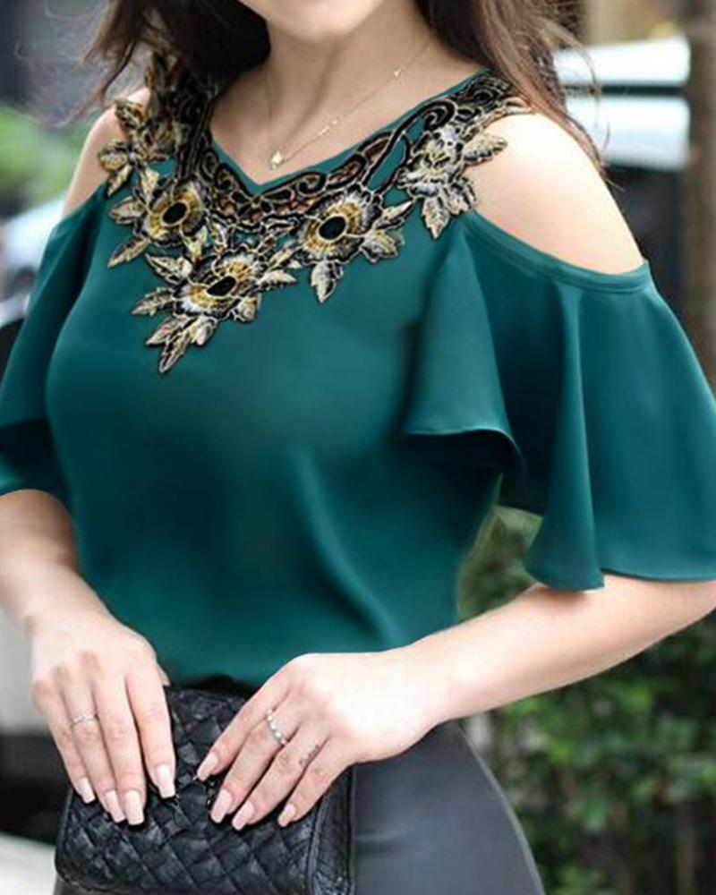 V Neck Embroidered Trim Blouse