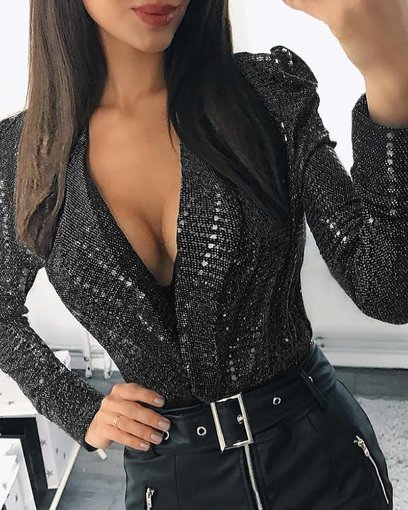 Outlet26 Sequins Plunge Puffed Sleeve Blouse black
