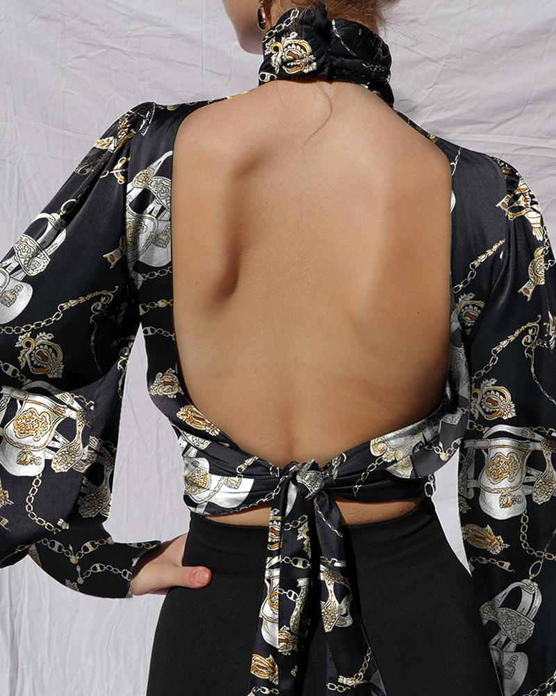 Chain Print Open Back Top