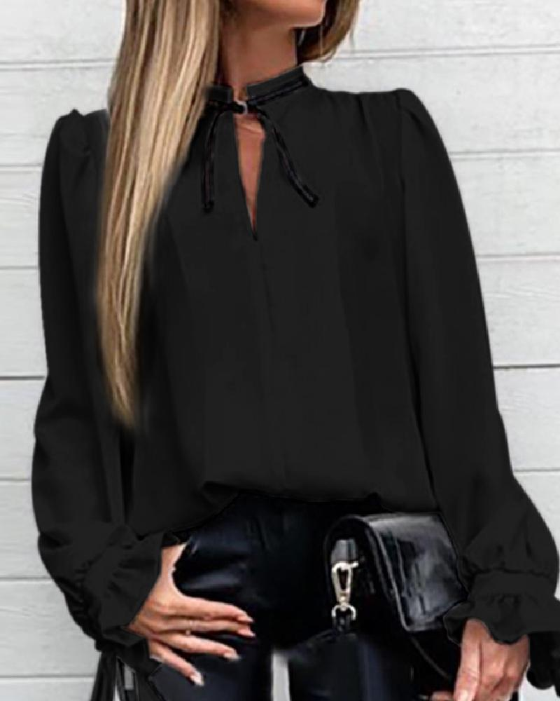 Solid Ruffles Cuff Tied Neck Shirt