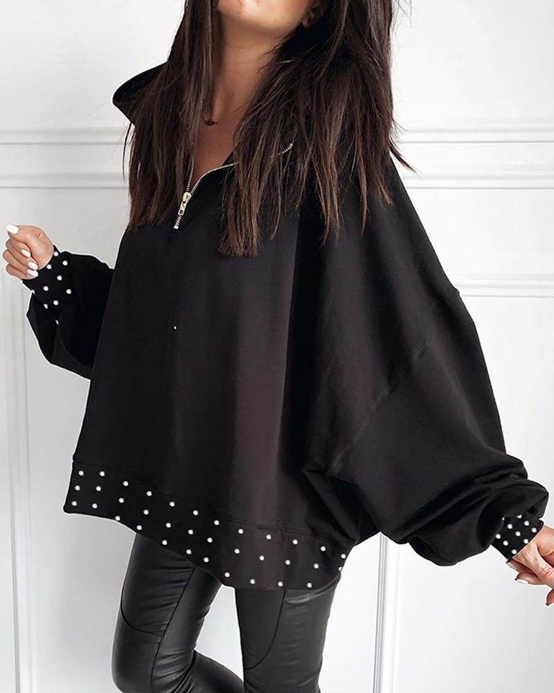 Outlet26 Beaded Detail Zipper Casual Blouse black