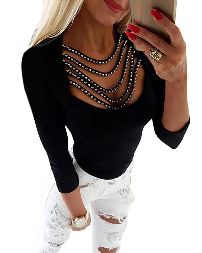 Outlet26 Rhinestone Tassel Embellished Neck Top black