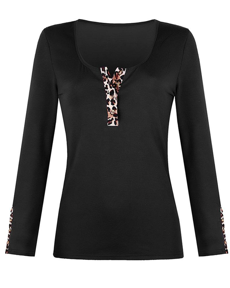 Leopard Trim Long SLeeve Top