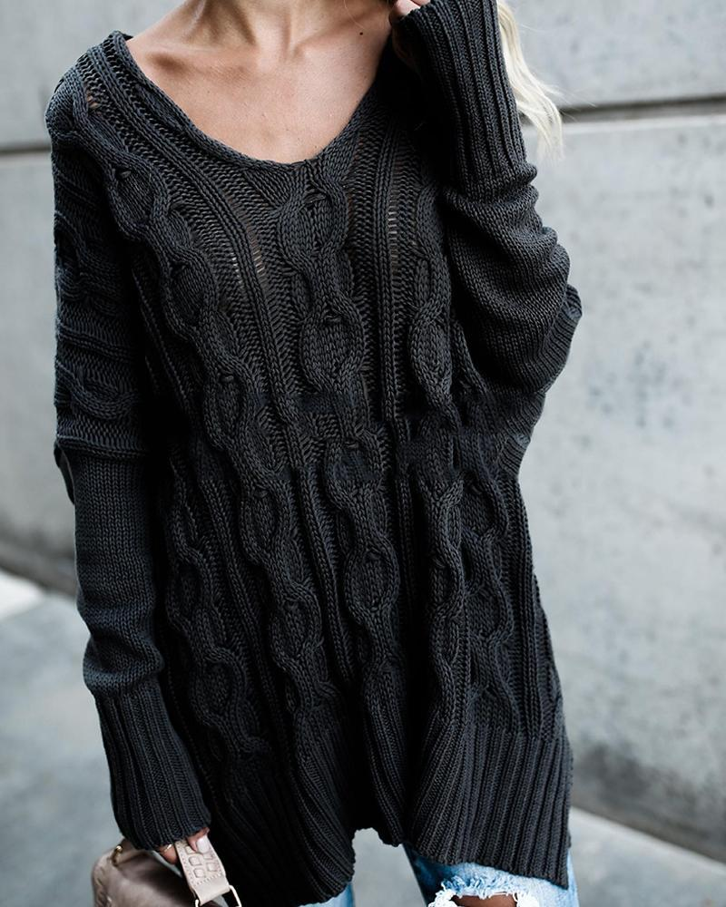 Plain Embossed Long Sleeve Sweater