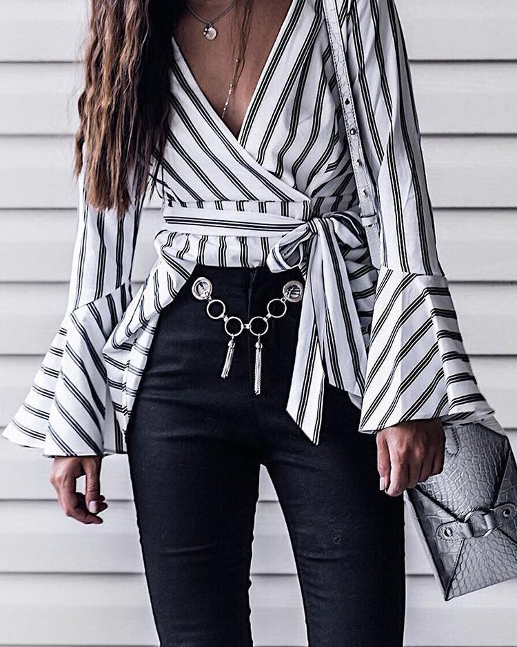 Outlet26 Contrast Stripes Wrap Belted Flounced Blouse white