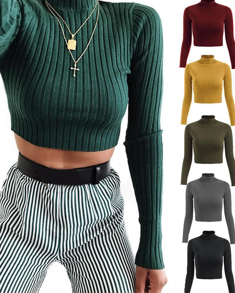 Outlet26 Ribbed Knit Long Sleeve Crop Top green