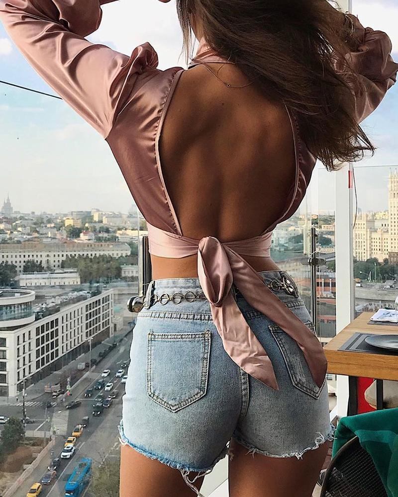 Solid Tied Backless Lantern Sleeve Ruched Crop Top