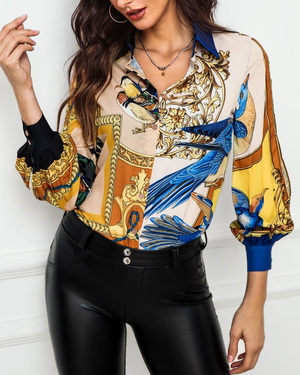 Abstrct Print Long Sleeve Shirt