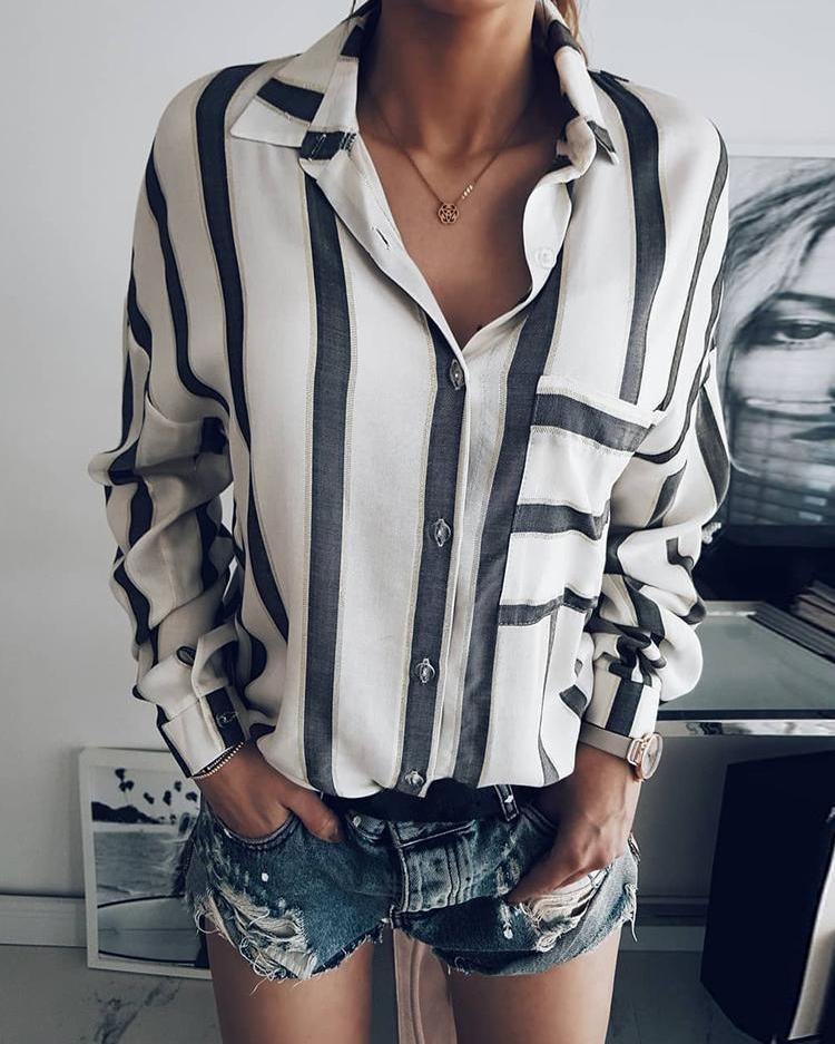 Outlet26 Fashion Women Buttoned Stripe Print Blouse MultiStyle