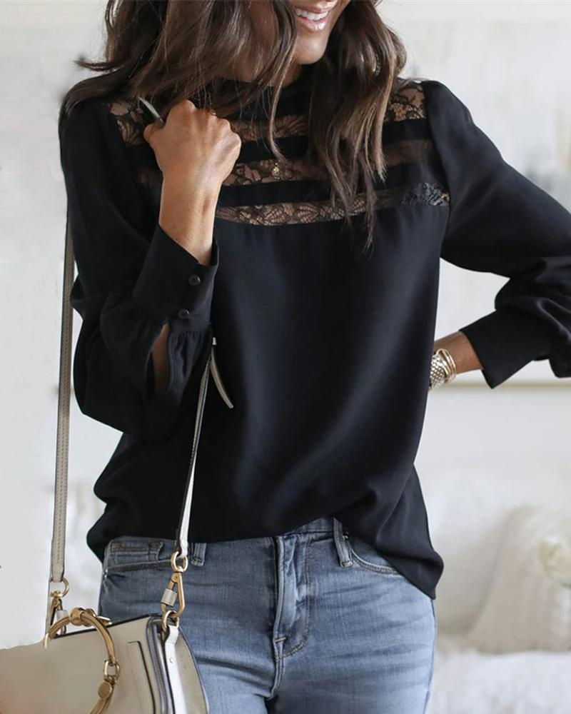 Lace Embroidery See Through Long Sleeve Blouse