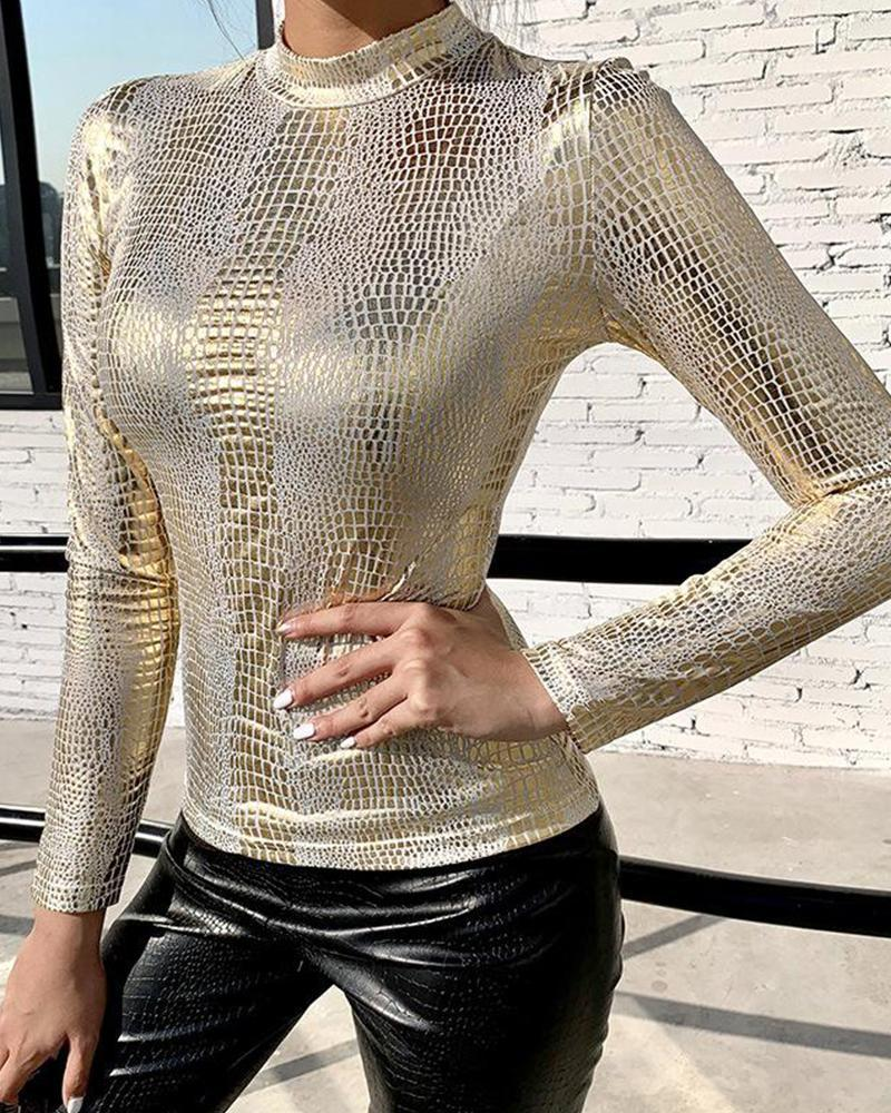 Outlet26 Mock Neck Snakeskin Sequin Top gold