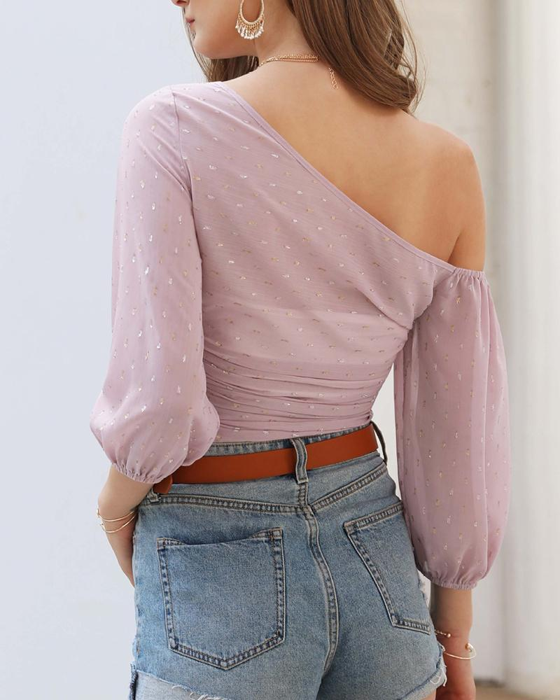 Solid One Shoulder Chiffon Top