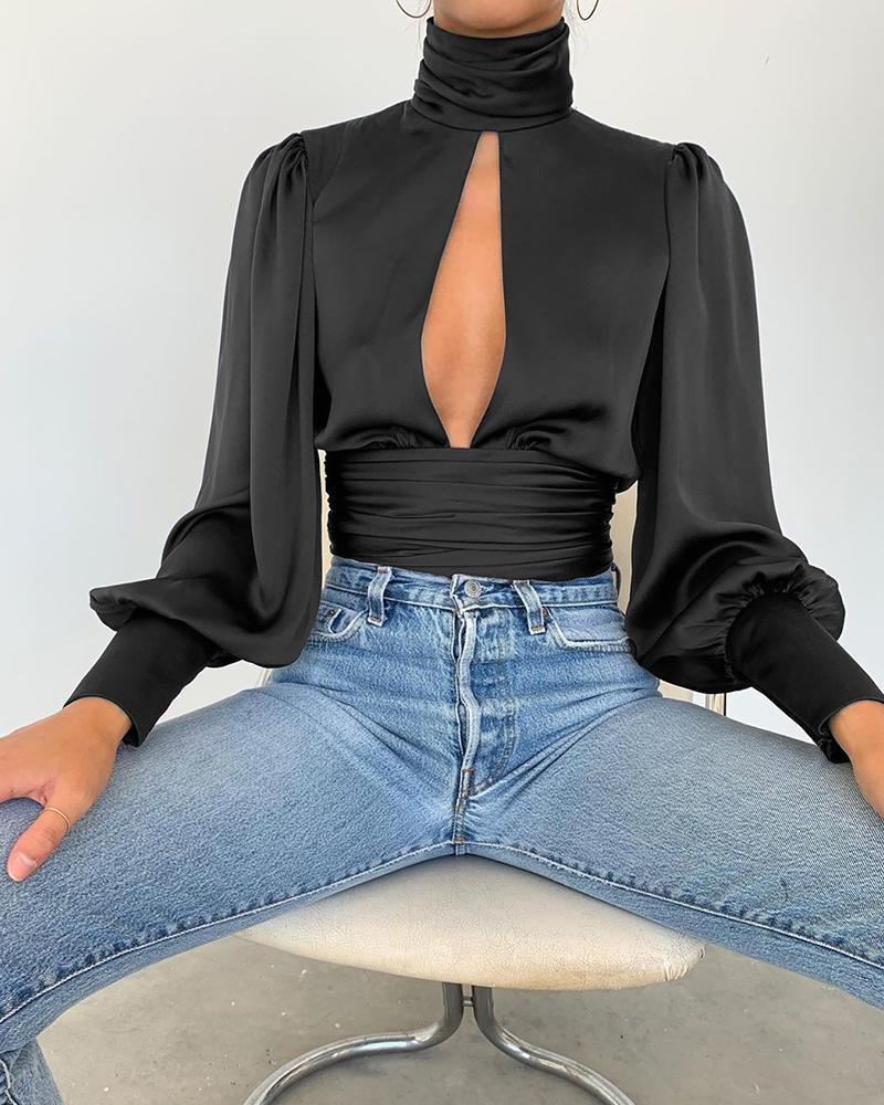 Outlet26 Keyhole Backless Long Sleeve Top black
