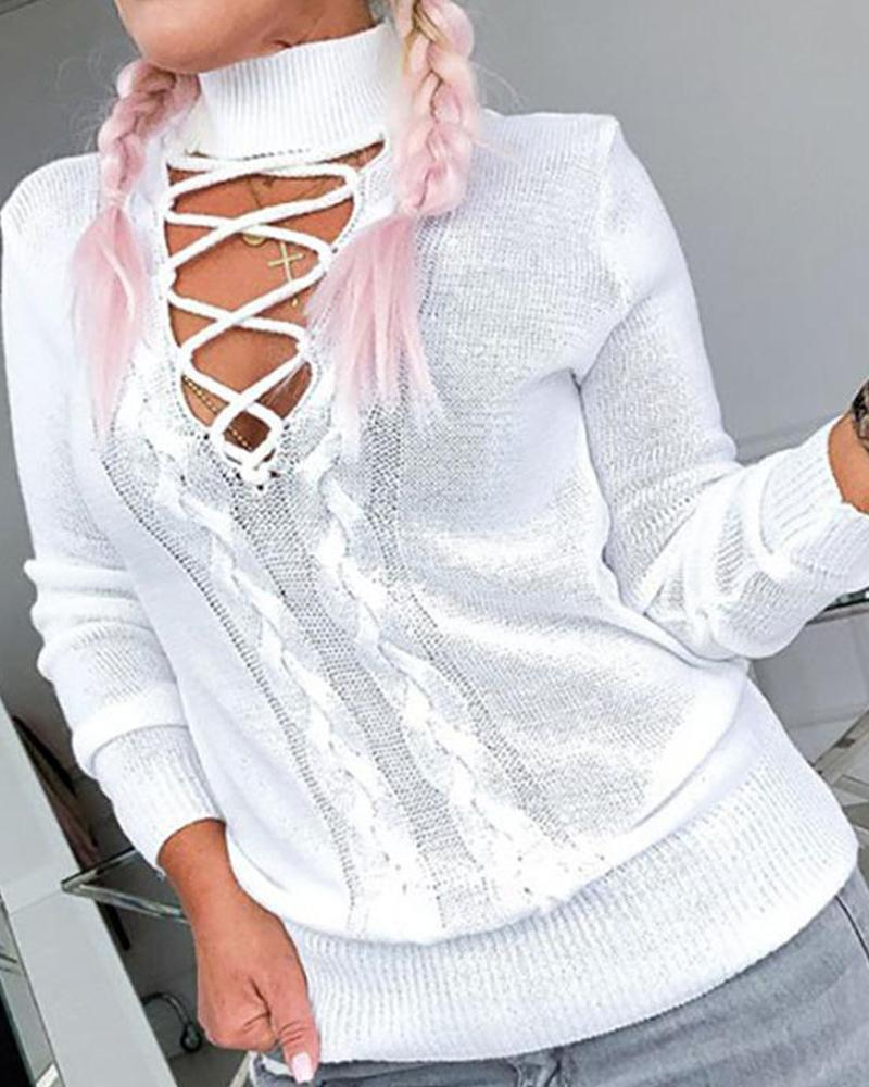 Outlet26 High Neck Lace-Up Front Knitted Sweater white