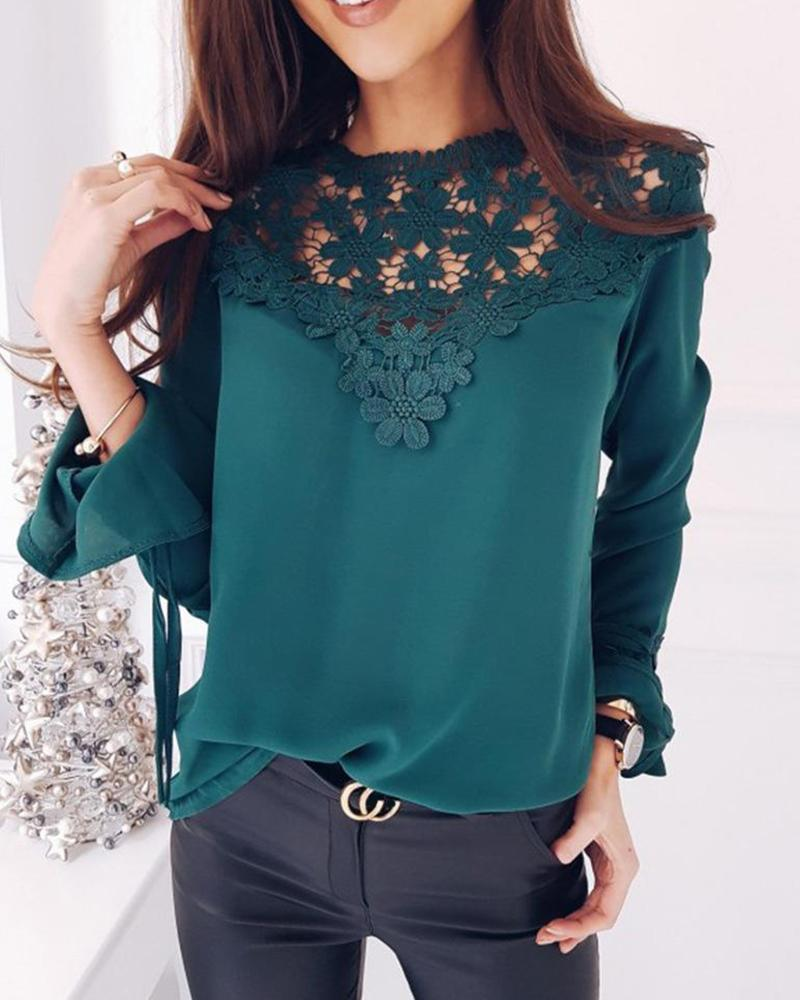 Outlet26 Lace Insert Chiffon Top green