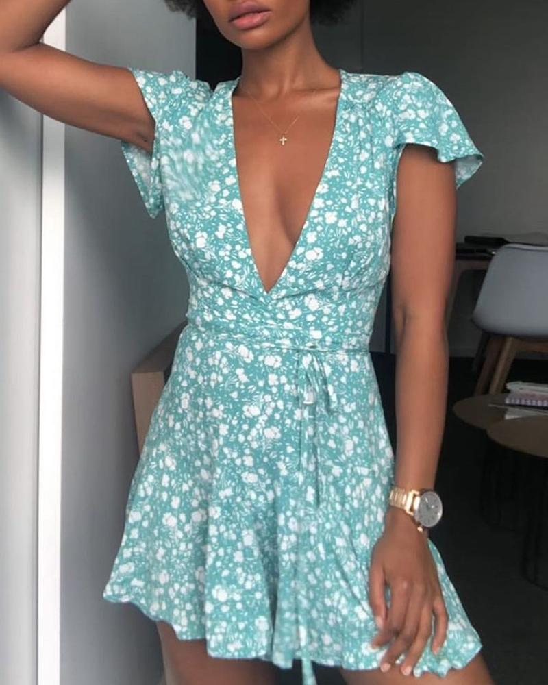 Floral Print Short Sleeve Deep-V Casual Dress