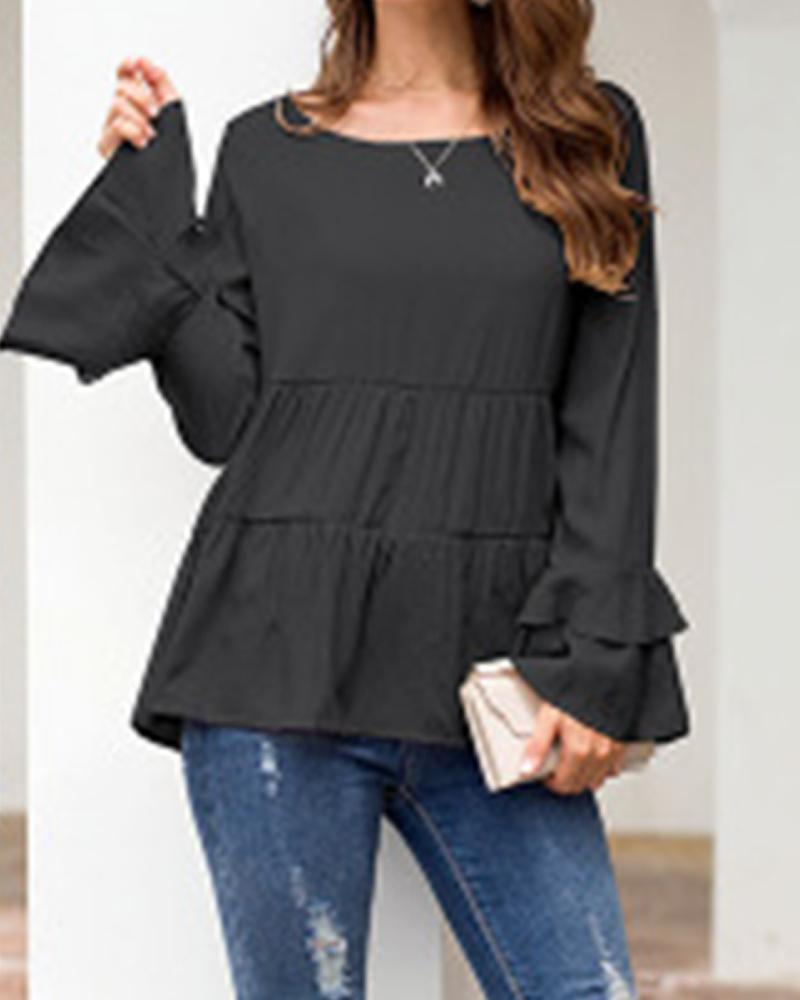 Round Neck Layered Ruffle Top
