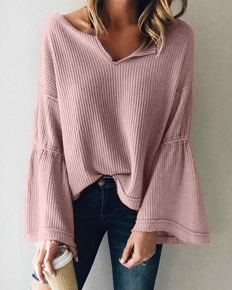 Outlet26 Solid Bell Sleeve Casual Top pink