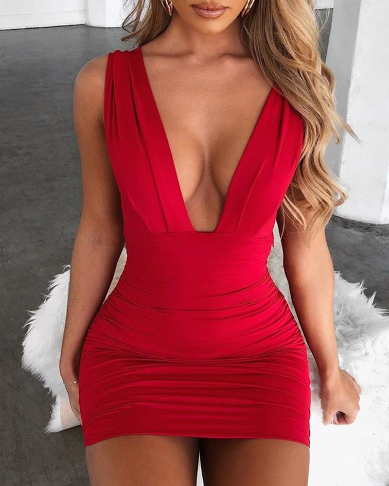 Outlet26 Deep V Neck Sleeveless Bodycon Dress red