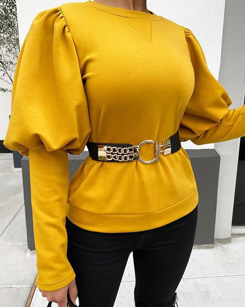 Outlet26 Solid Round Neck Lantern Sleeve Top yellow