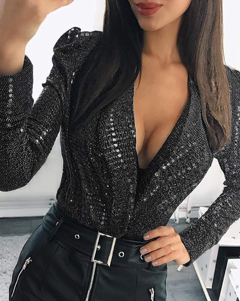 Sequins Plunge Puffed Sleeve Blouse