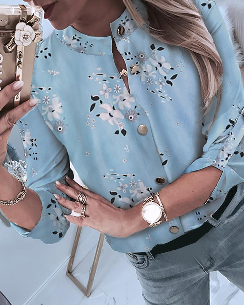 Outlet26 Floral Print Button Through Casual Shirt blue