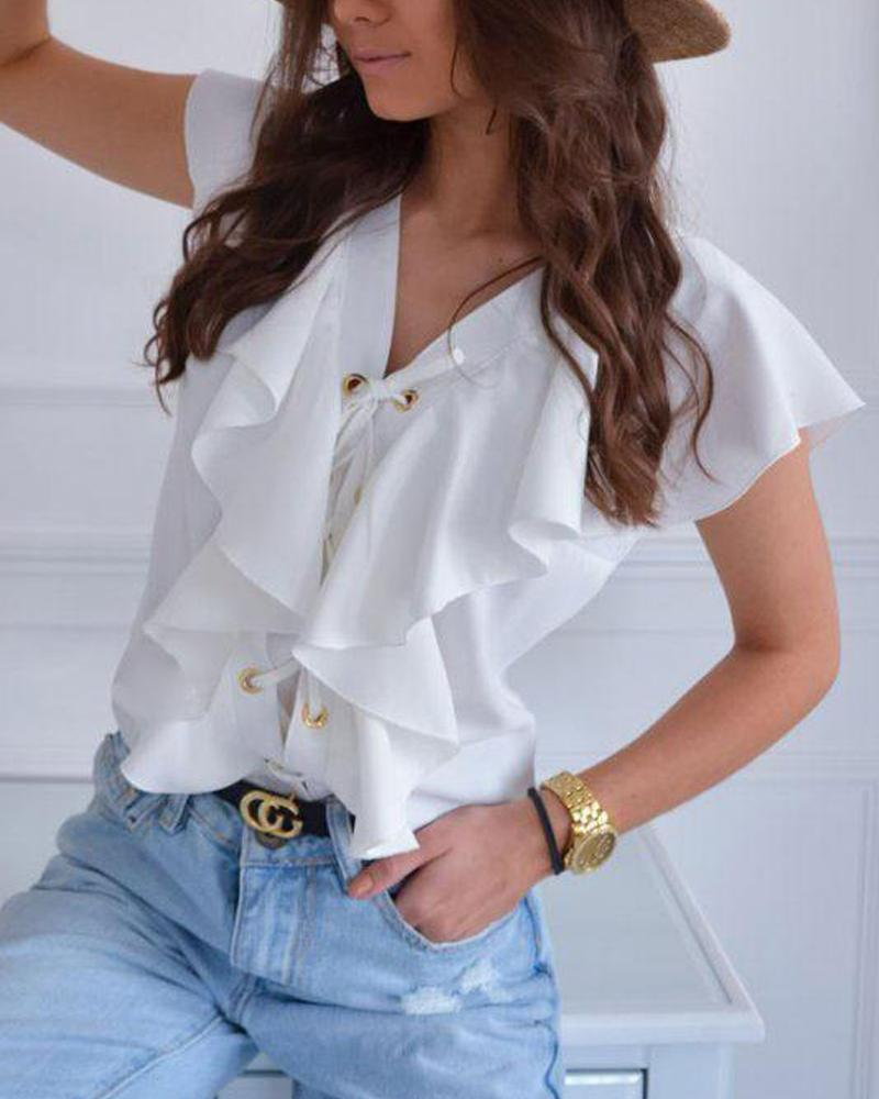Sleeveless Ruffle Front Top