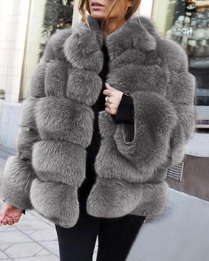 Outlet26 Thicken Faux Fox Fur Coat khaki