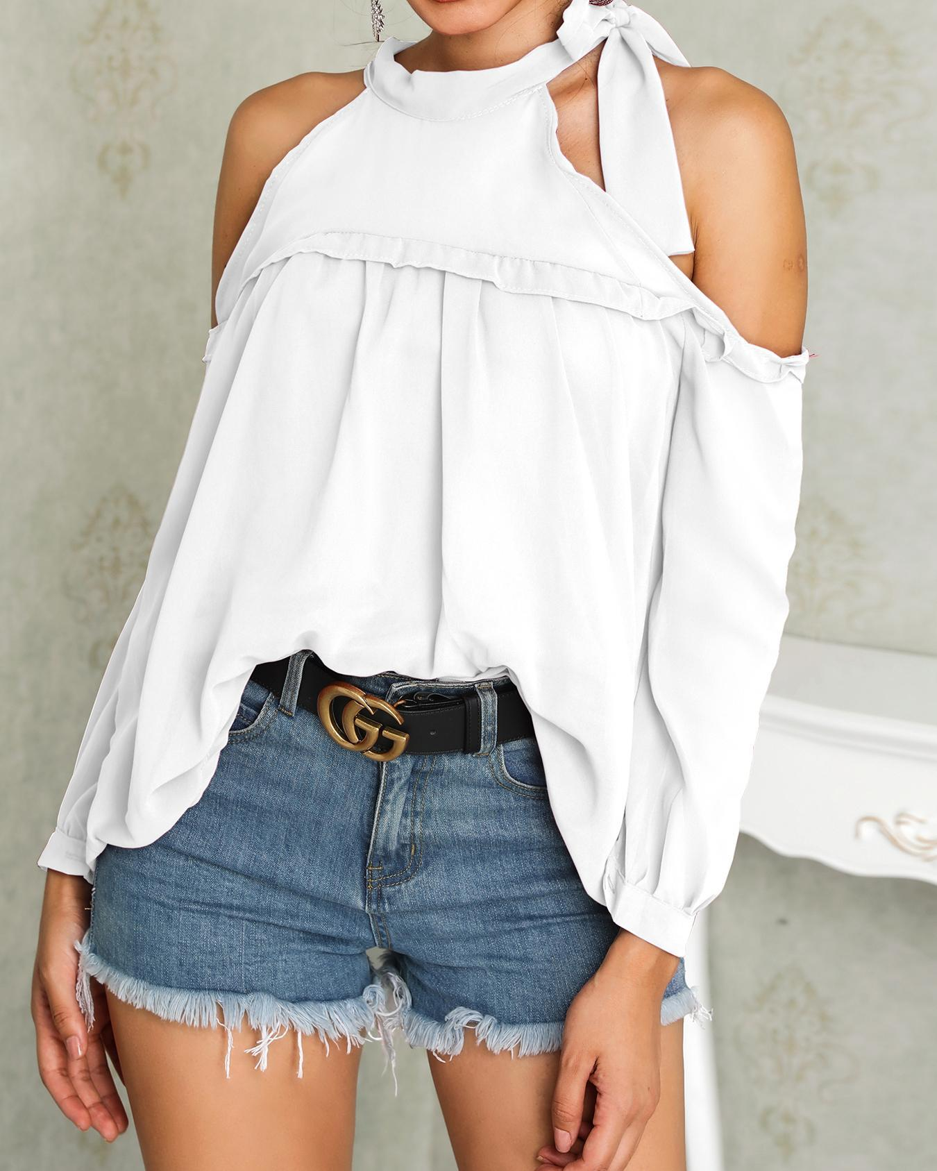 Outlet26 Tied Neck Cold Shoulder Frills Chiffon Blouse white