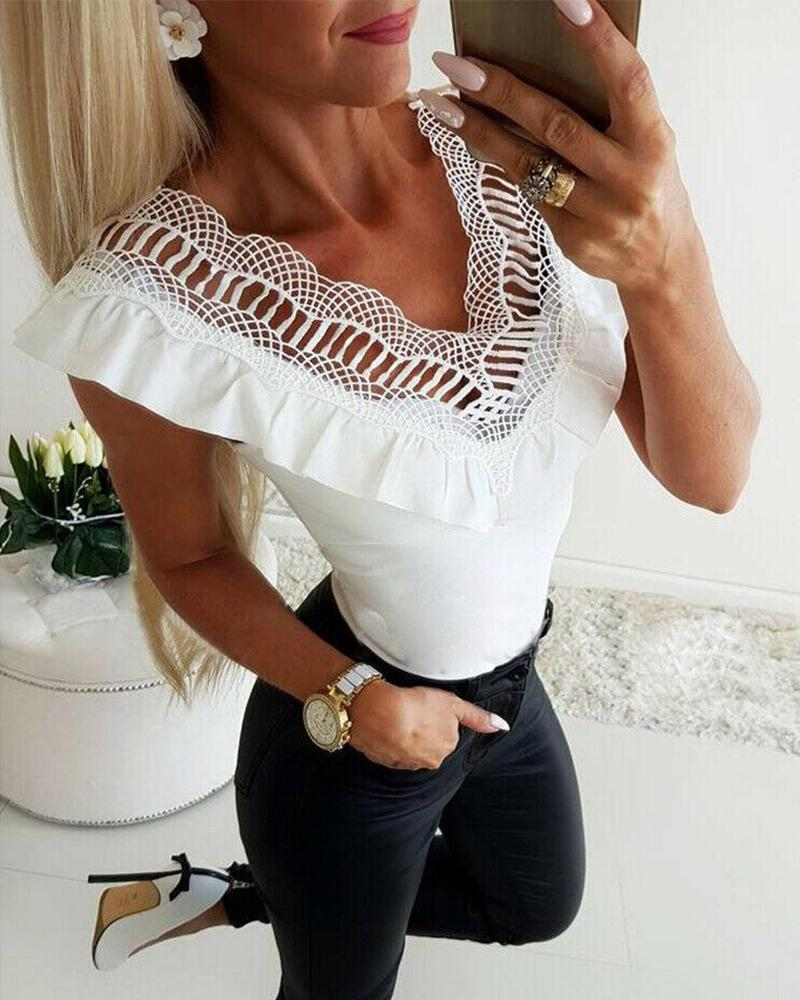 Outlet26 V Neck Lace Ruffle Trim Top white