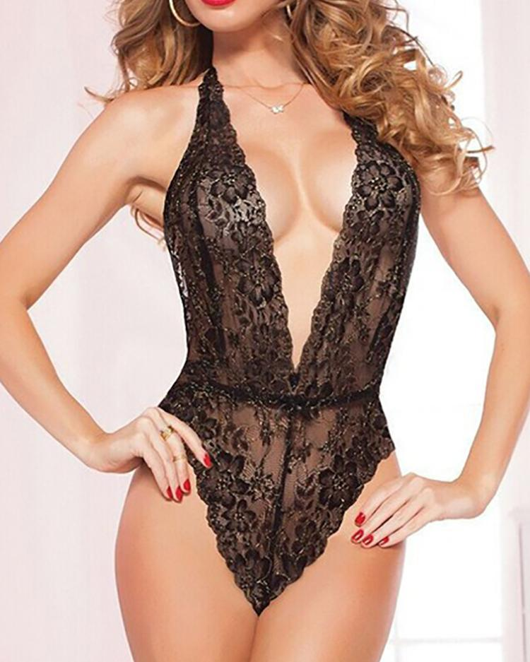 Crochet Lace Plunge Teddy