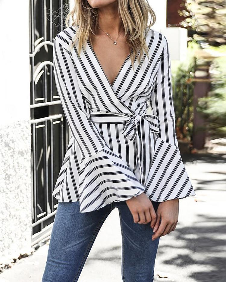 Contrast Stripes Wrap Belted Flounced Blouse
