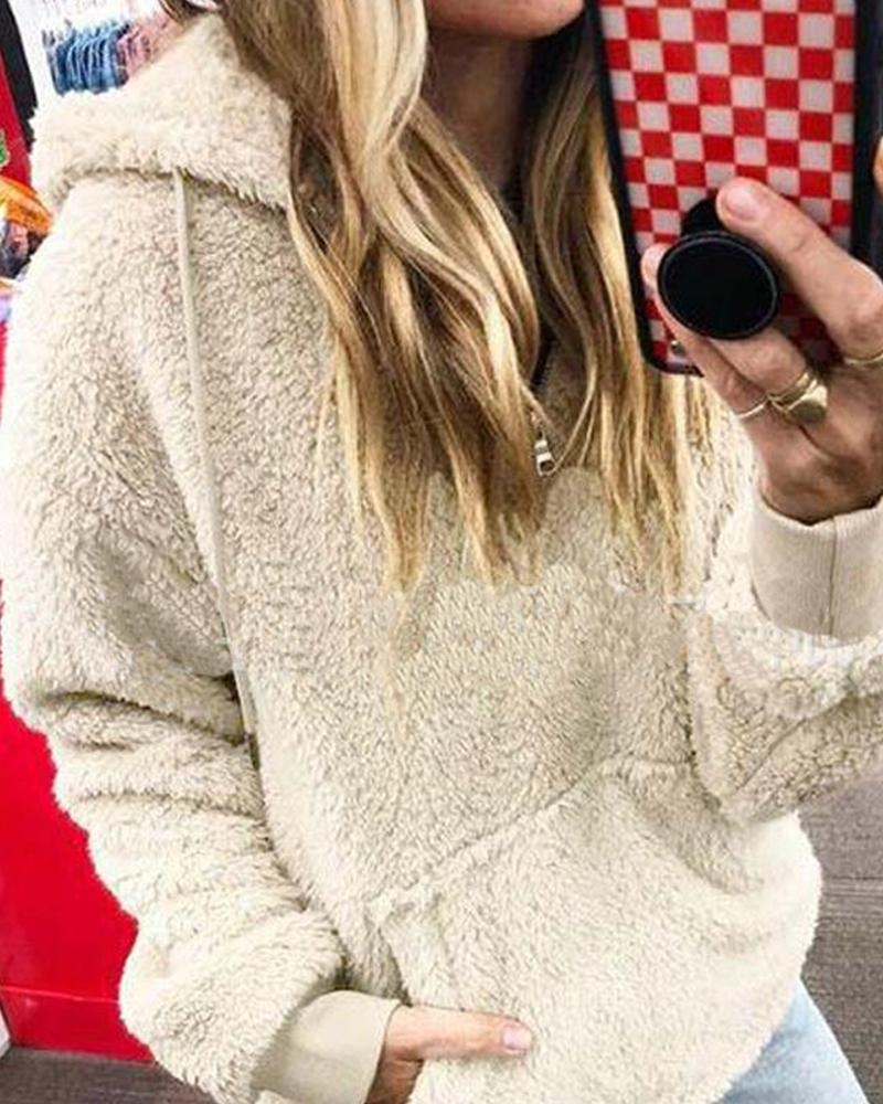 Faux Shearling Hooded Zip Neck Sweater