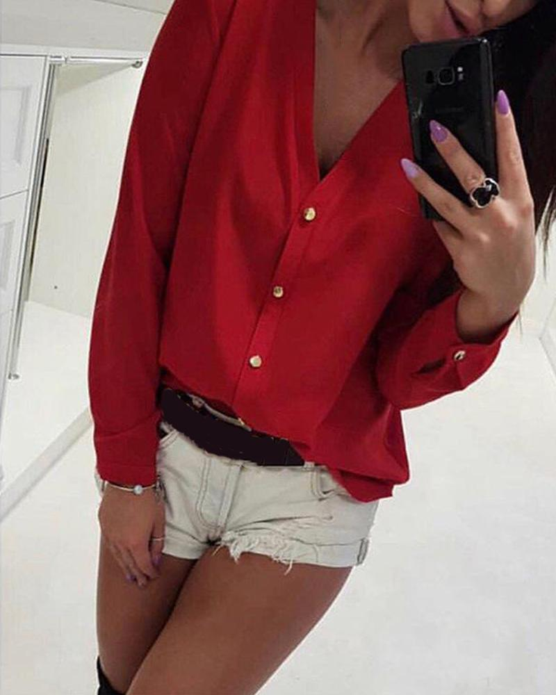 V Neck Chiffon Button Up Blouse