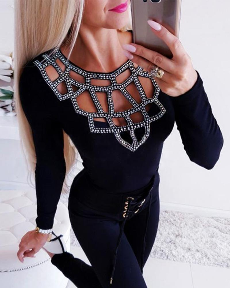 Outlet26 Embellished Cut Out Long Sleeve Top black