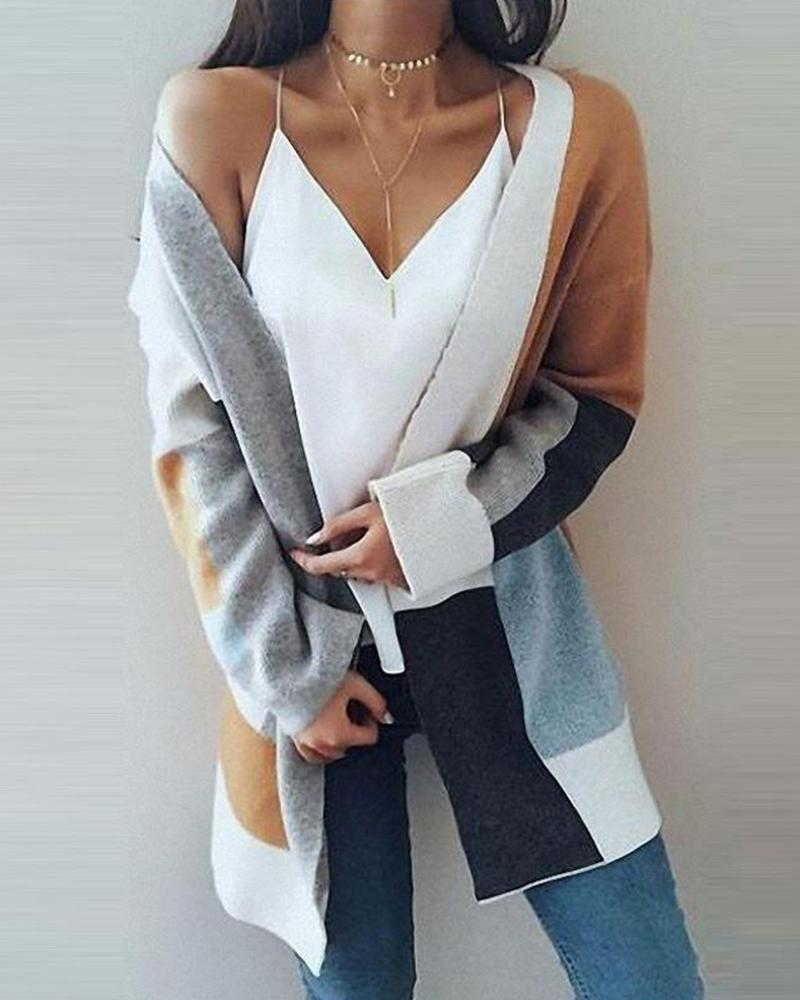 Outlet26 Open Front Colorblocks Knitted Cardigan gray