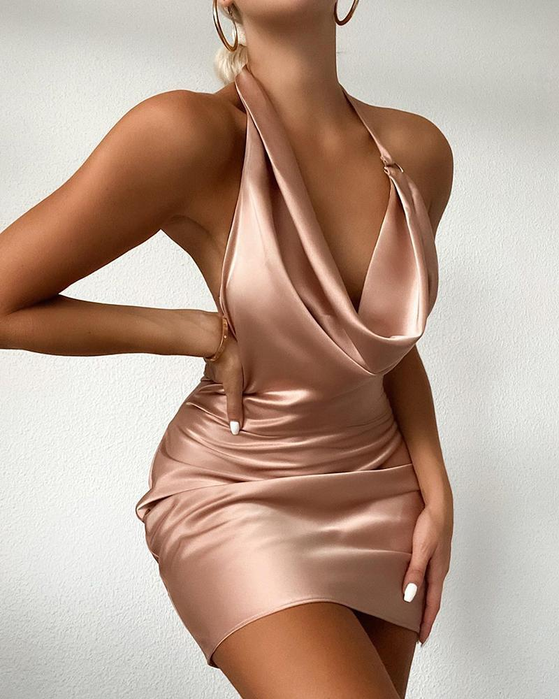 Cowl Neck Satin Ruched Party Dress