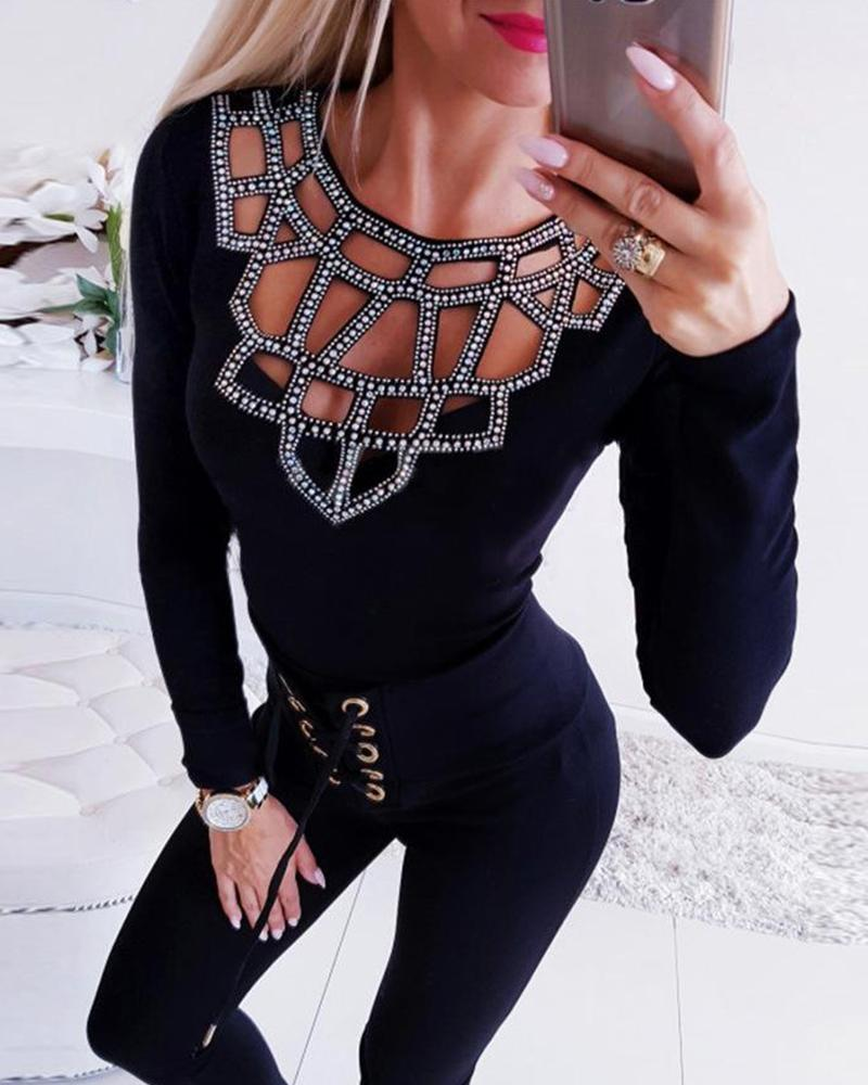 Embellished Cut Out Long Sleeve Top
