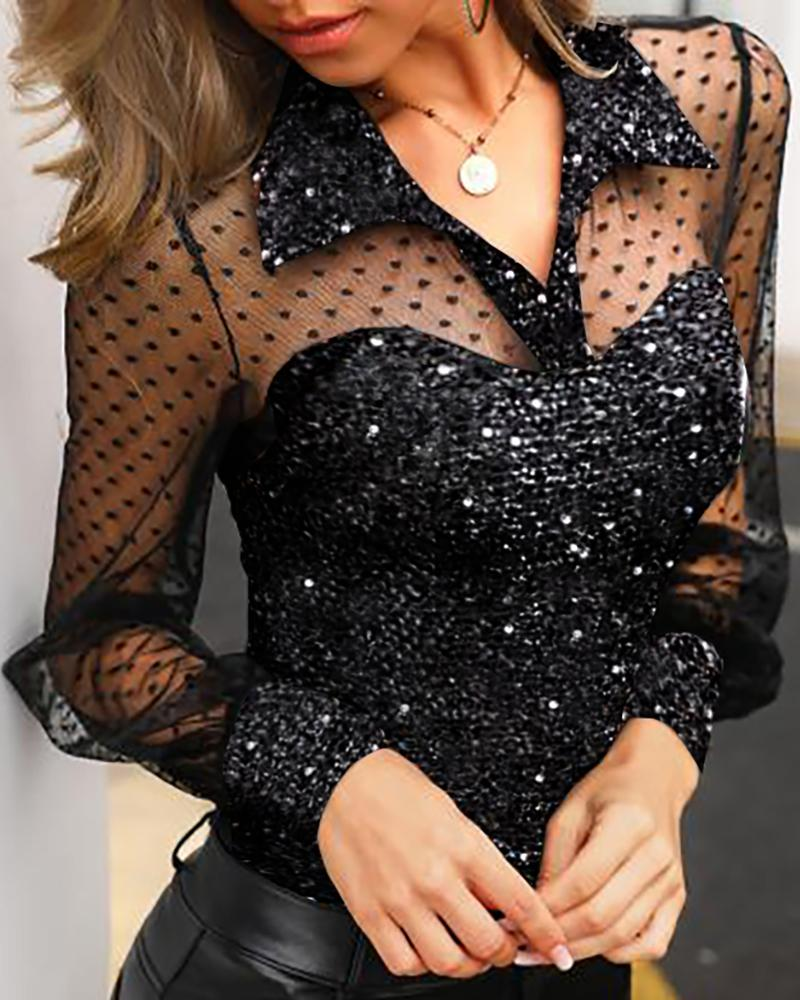 Outlet26 Dot Sheer Mesh Yoke Sequins Blouse black